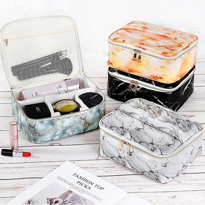 2020 nueva bolsa de cosméticos del almacenaje del recorrido patrón de mármol neceser de cosméticos de las mujeres impermeables