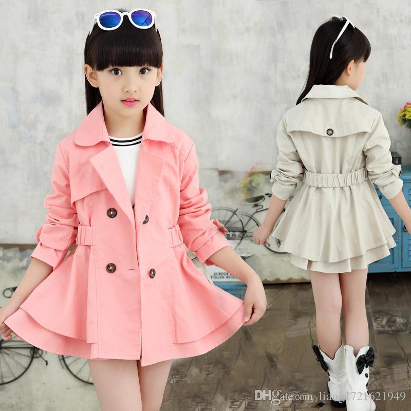 Детская одежда 2019 Осень Девушки Девушки Большой сплошной цвет Открытый ветровка Детская куртка