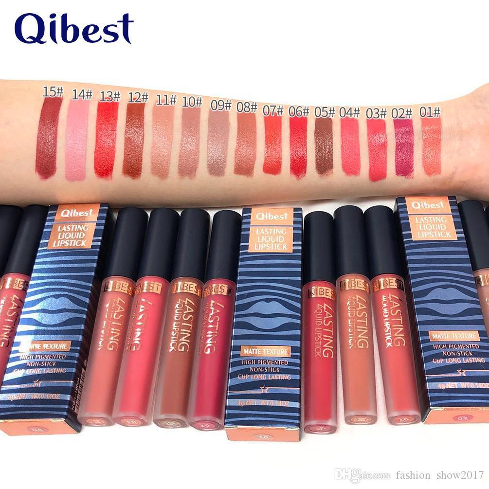 Qibest 15 Colors Waterproof Long-lasting Liquid Lipstick Moisturizing Matte Cream Lip Gloss Cosmetics Nude Chic Sexy Lips