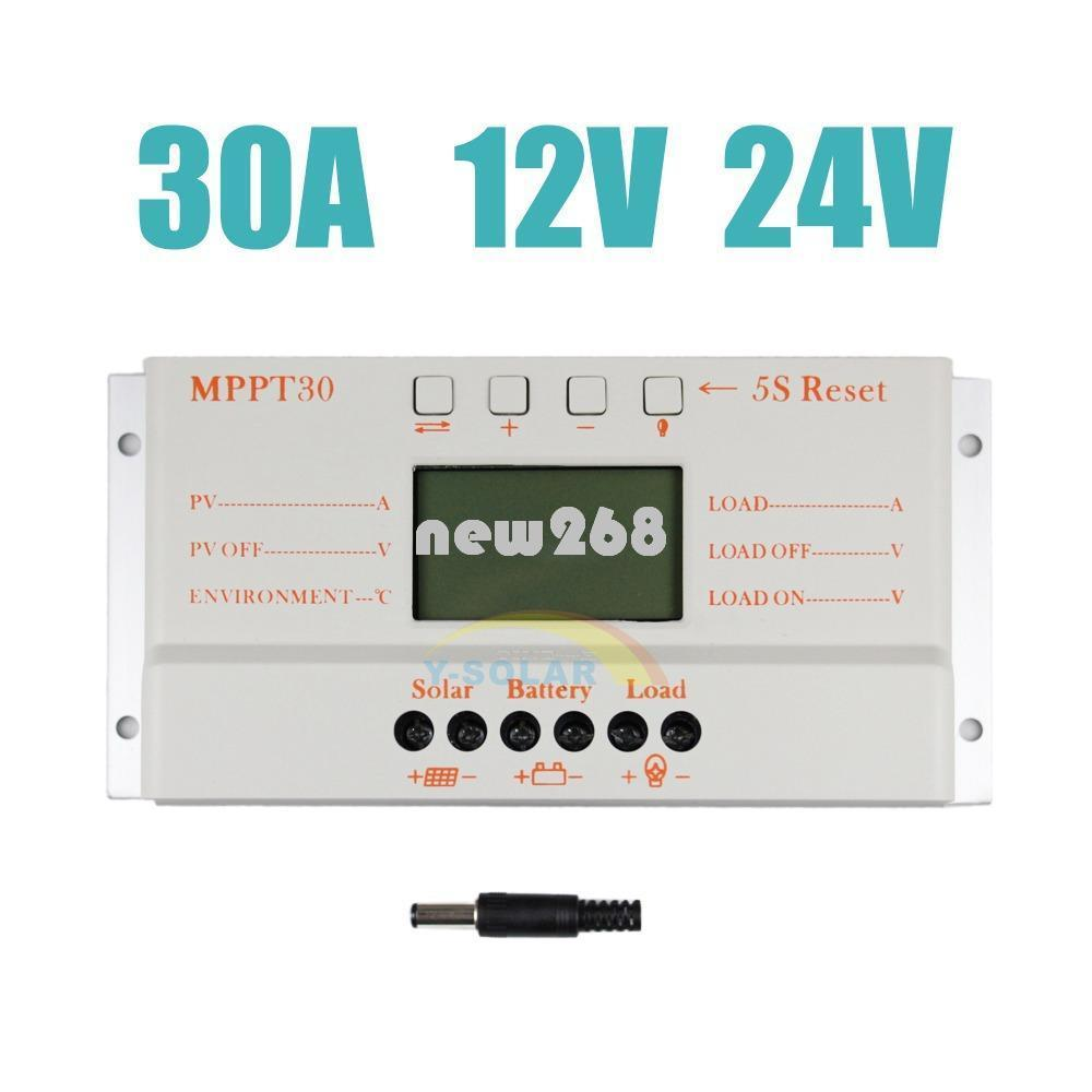 Freeshipping Güneş Kontrol 30A MPPT30 12 V 24 V Oto Çalışma LCD Ekran Işık ve Zamanlayıcı Max 720 W Ile Güneş Paneli Için kapalı ızgara pv sistemi