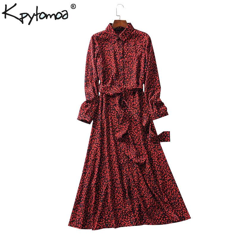 Vintage Leopard Print Ankle Length Dress Bow Tie Sashes Long Sleeve Animal Pattern Chic Robe Maxi Dress Casual Vestidos Mujer Y190424