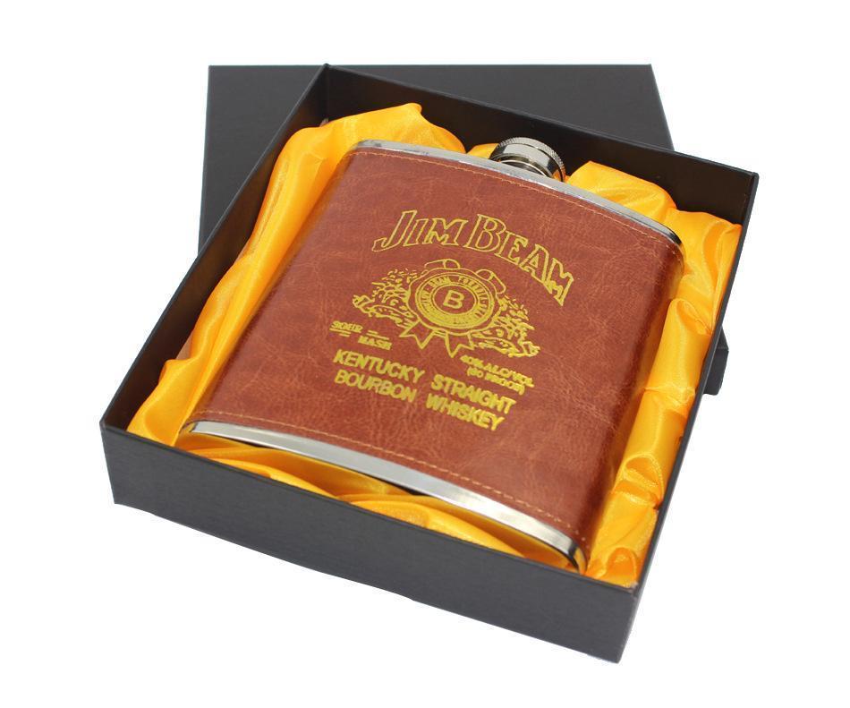 LMETJMA lusso 18 Oz in acciaio inox Russo Whisky Hip Flask in pelle personalizzata Boccetta per alcool con la scatola come regalo K0042 T200111