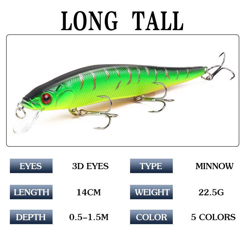 1pcs 14cm 23.7g Topwater Wobblers 3d Eyes Fishing Lure Minnow Hard Bait Pesca 3 Fish Hooks Crankbait Floating Fishing Tackle
