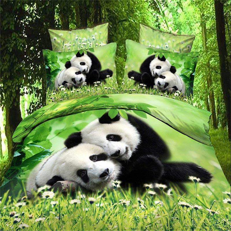 럭셔리 스마트 3D 침구 세트 침구 4 개 세트 침대 듀벳 커버 플랫 시트 홈 섬유 베개 커버 퀸 사이즈 사랑 귀여운 팬더