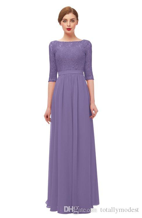 Lilac Lace Chiffon Long Modest Bridesmaid Dresses With 3 4 Sleeves A Line Floor Length Women Rustic Modest Wedding Party Dress Australia 2019 From