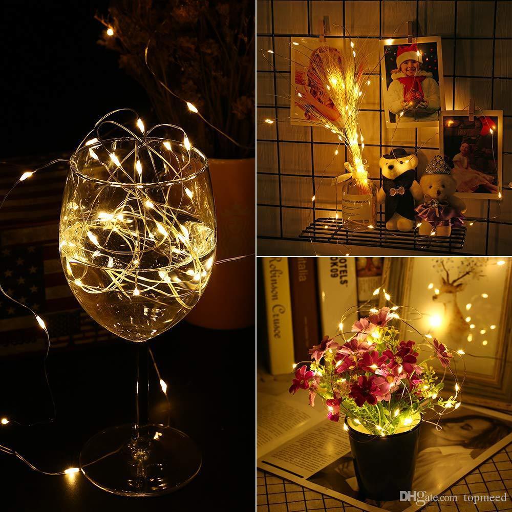 الصوت المنشط أضواء الجنية أضواء بطارية تعمل 16.4Ft 50 أضواء LED للماء سلسلة الجنية الأنوار مع زفاف الموقت عن بعد