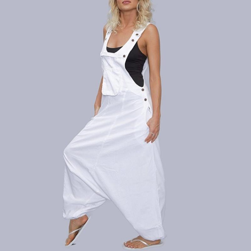 Sommer-Frauen Jumpsuits Ärmel Fashion Solid Color Taschen Angepasst Buttons beiläufige hohe Taille lose Jumpsuits