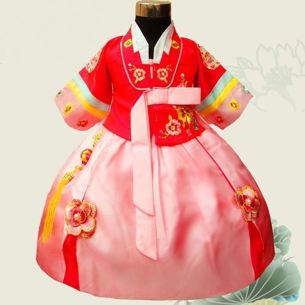 2017 vendita calda Yukata giapponese colore bambini Hanbok vestito neonate coreano principessa costumi nazionali Flower Girl prestazioni