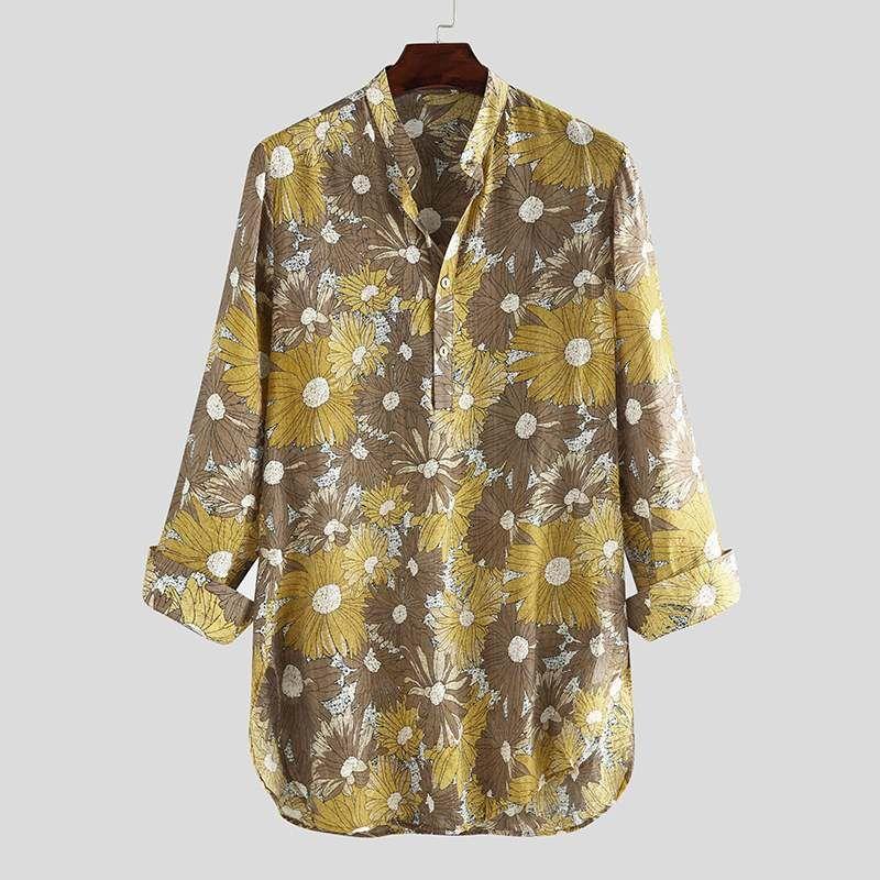 Men Long Style Shirt Floral Print Vintage Streetwear 2020 Long Sleeve V Neck Tops Casual Breathable Men Muslim Clothing INCERUN