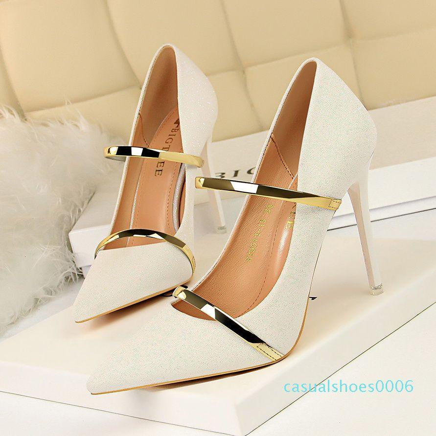 2020 estate delle donne 10,5 centimetri Tacchi alti Glitter pompe della signora Bling Argento Champagne donna Scarpe da sposa Oro nuziale scarpins Scarpe c06