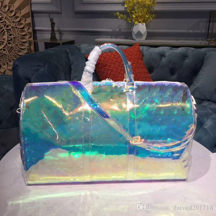 Новый европейский классический роскошный стиль Сумка женская модная сумка ПВХ Париж супермодель мода блестящий цвет прозрачный дорожная сумка