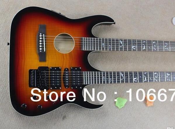 Ücretsiz Kargo Gitar İba Sunset Alev Maple Çift Boyun 6 Strings + 12 Strings Electric Guitar Burst