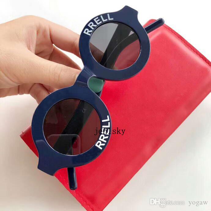 Occhiali da sole occhiali da sole occhiali da sole rari occhiali da sole unisex navy con cerchio bianco rotondo nuove sfumature scatola vlfjr