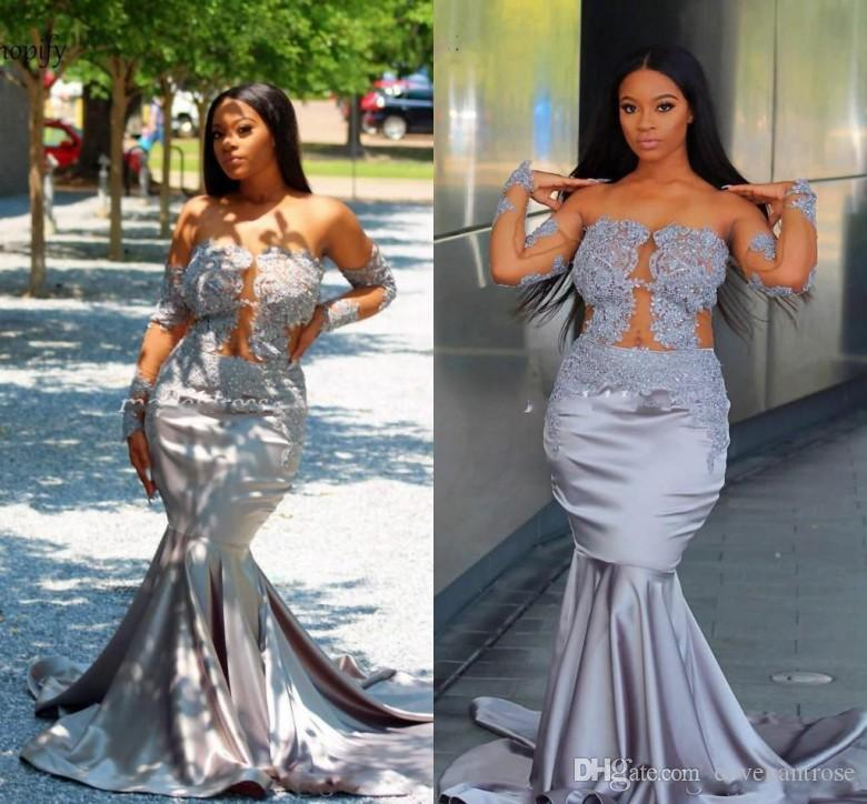 New Designer Mermaid Silver Prom Dresses Off Shoulder Long Sleeve Appliques Beads Sweep Train Formal Plus Size Evening Dress Party Gown 2019