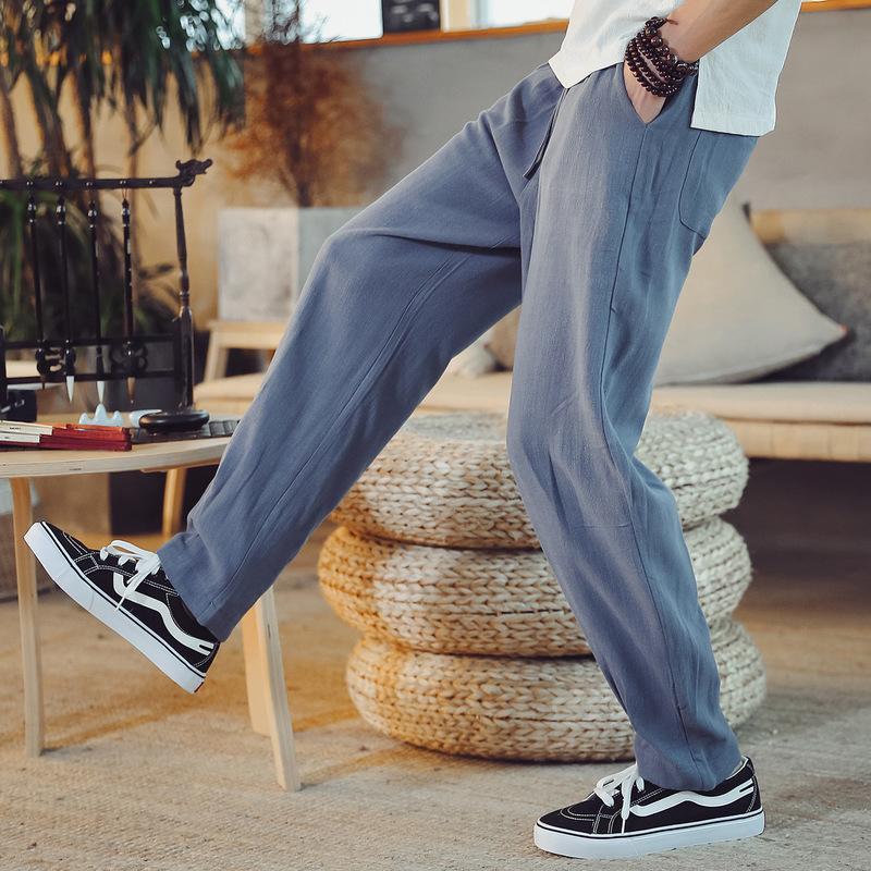 2020 hommes de mode grands chantiers coton de couleur droite pur et lin vent chinois pantalon restauration des moyens anciens haroun pantalons