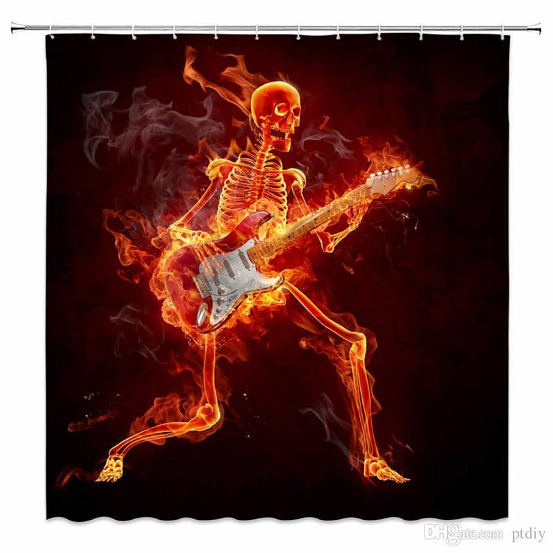 Funny Skeleton Skull on Black Fabric Bath Shower Curtains Waterproof /& 12 Hooks