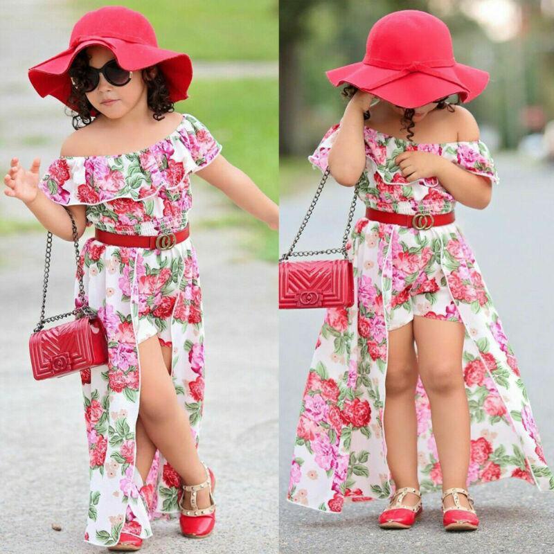 Bebés de la ropa del verano fiesta de la princesa tapas florales cortos vestidos