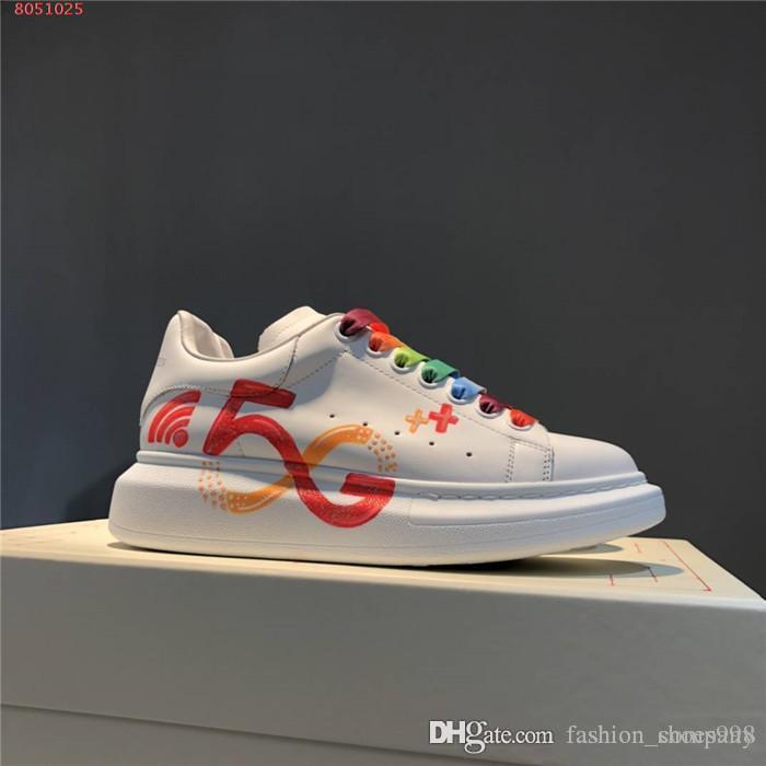 The latest woman Sneakers Sneakers In Printed leather,Breathable Oversized Noctilucent Sneakers White splice woman Shoes Size 34-41
