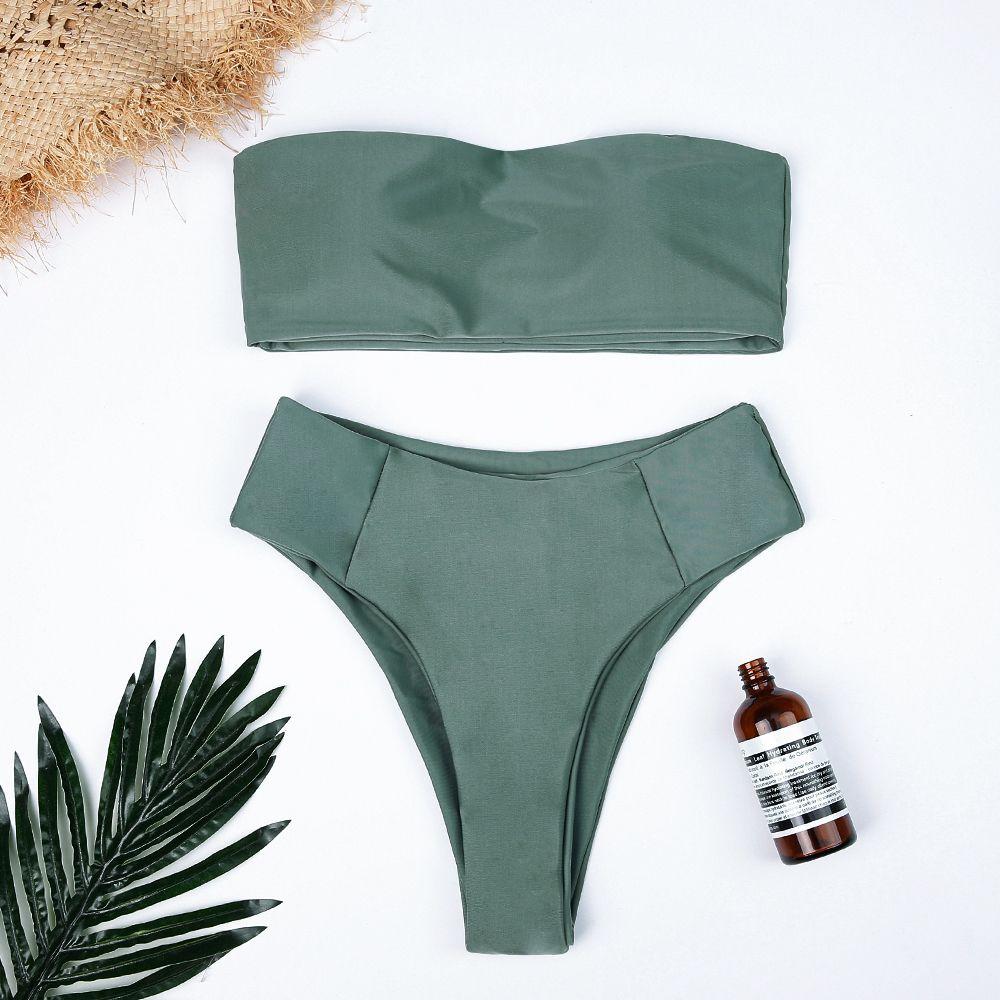 High Waist Swimsuit Sexy Bikini Set Pure color Bathing Suits Swimwear two piece off-Shoulder Bikinis Women Push up Swimwear