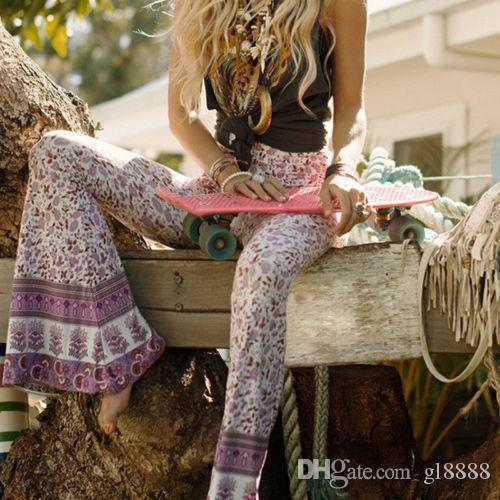 Frauen Boho Hippie mit hohen Taille lose breites Bein Ausgestelltes Bell-Bottom flroal lange Hosen
