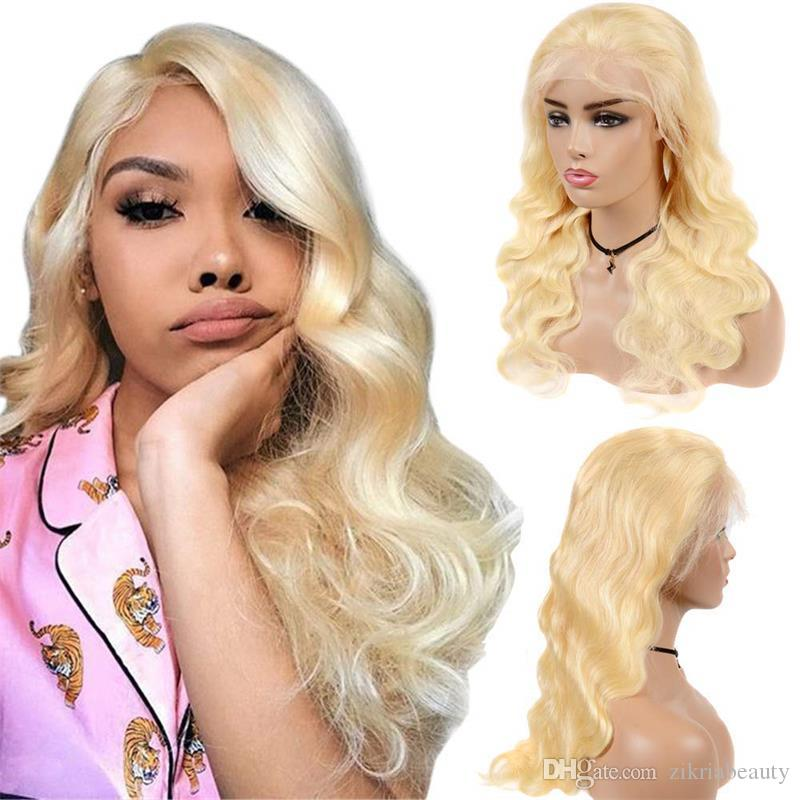 Günstige 613 Blonde Körper-Wellen-13x4-Spitze-Front-Perücke volle Spitze-Menschenhaar-Perücke brasilianisches Jungfrau-Haar mit dem Babyhaar Pre Zupforchester Hairline