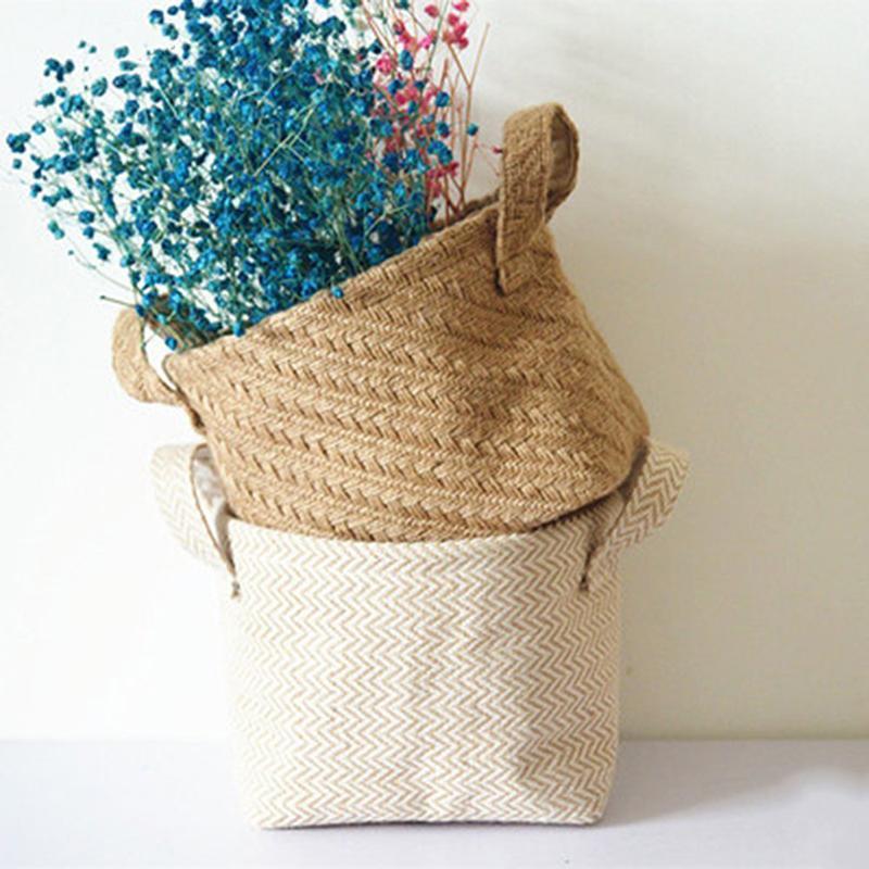 Tressées Jute Tissu Flowerpot Panier de rangement Coton Lin mixte Bureau boîte de rangement pour enfants Jouets Mêle Organisateur Panier à linge