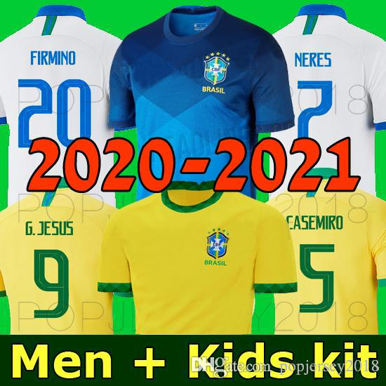 Thailand NEYMAR JR BRASILIEN Fußball Trikot 2020 2021 Copa America NERES JESUS FIRMINO COUTINHO Brasilien 20 21 mannschaft Fußball Fußball Trikot Männer und Kinder Sets Uniform