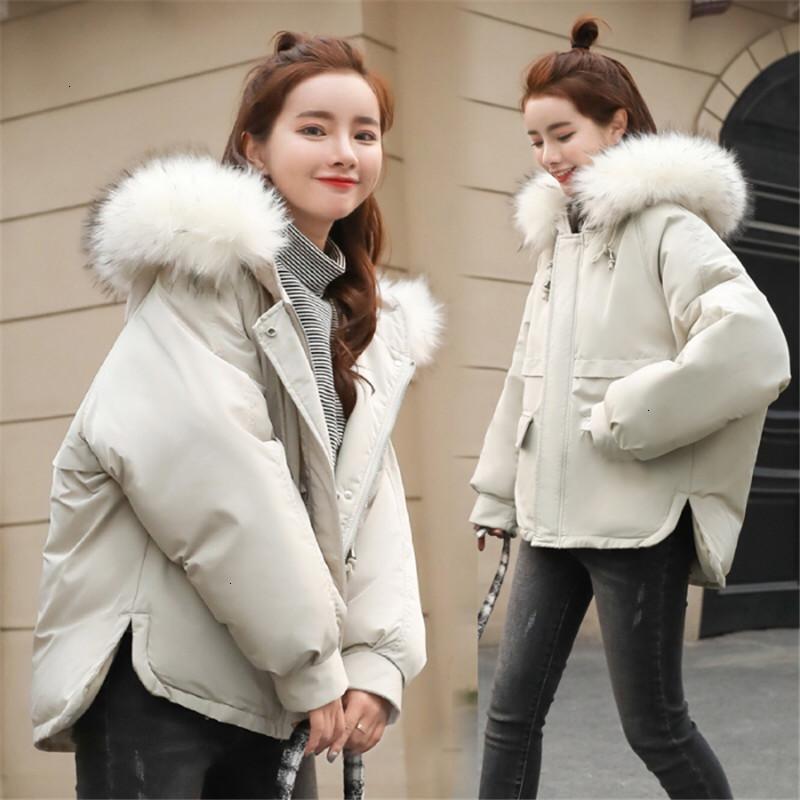 Fashion-New Women Fur Fashion Hooded Solid Casaco Loose Plus Size Woman Zipper Cotton Warm Parka Jacket Winter Padded Coat Overcoat
