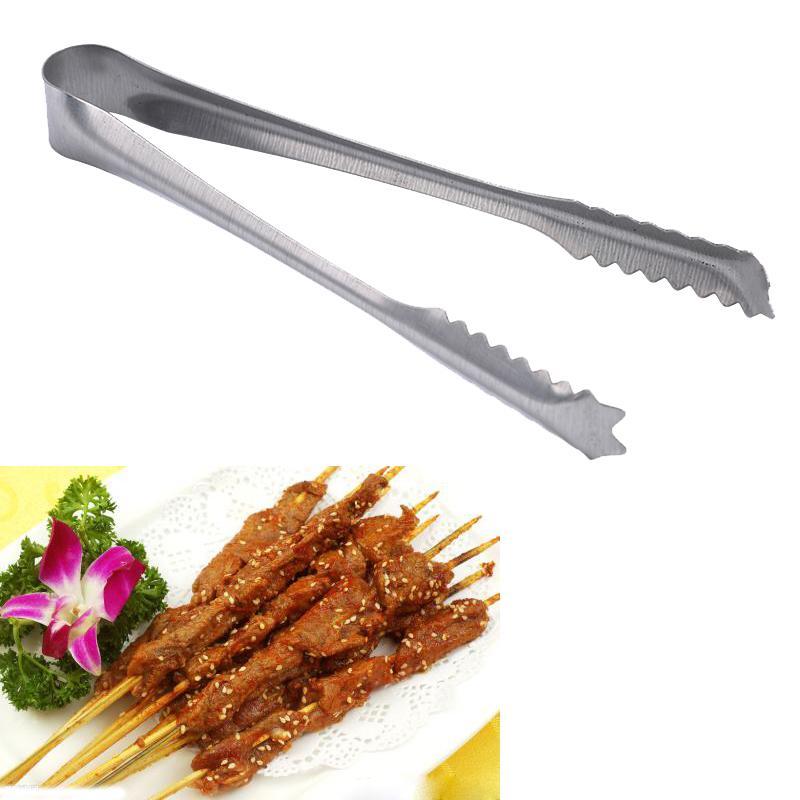 Pinzas de acero inoxidable barbacoa carne Alimentos Clip Barbacoa herramientas de la parrilla para hornear carne ensalada de verduras Pasta Accesorios de Cocina