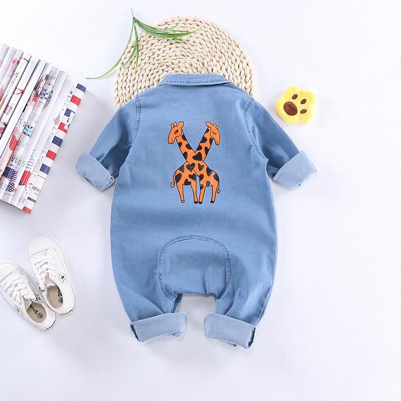 Soft Denim Baby Body Giraffe Infant Newborn Jumpsuit Babys Jungen-Mädchen-Kostüm Cowboy Fashion Jeans-Kind-Spielanzug RM19013