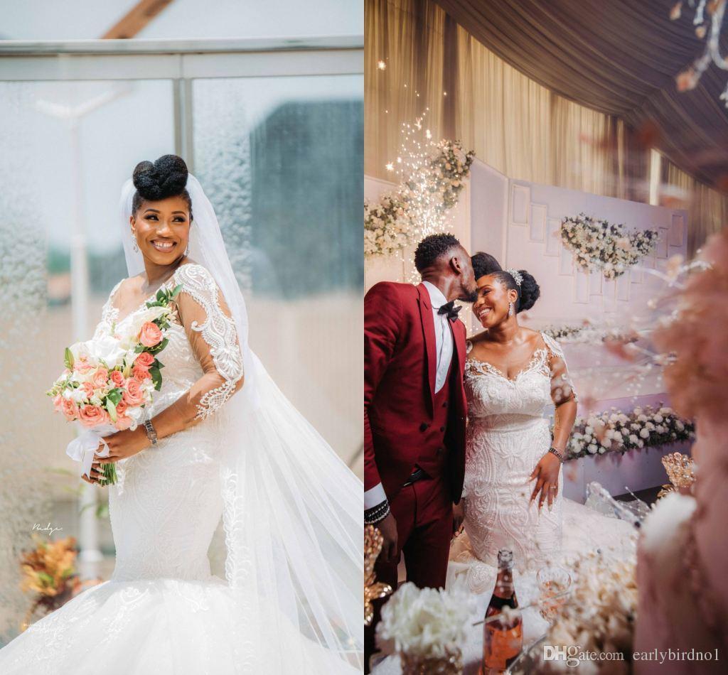 Manga larga atractiva africana Vestidos de boda de la sirena Cuello redondo de lujo Vendimia del cordón aplique más vestido nupcial de la muchacha de Balck