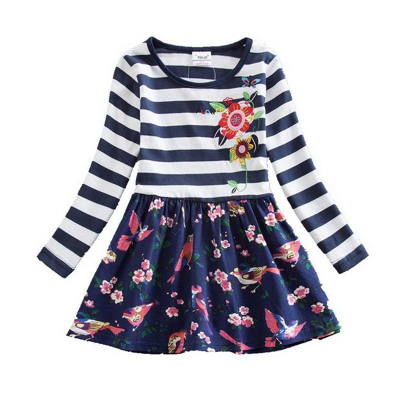 Stripe And Dot Print 100% Soft Cotton Girl Dress With Flower Embroidery Sunny Day Play Dress