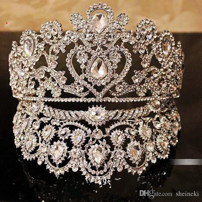Luxueux Junoesque Sparkle Pageant Chapeaux Couronnes Mariage Couronnes De Mariée Bijoux De Mariée Diadèmes Accessoires De Cheveux brillant Diadèmes De Mariage