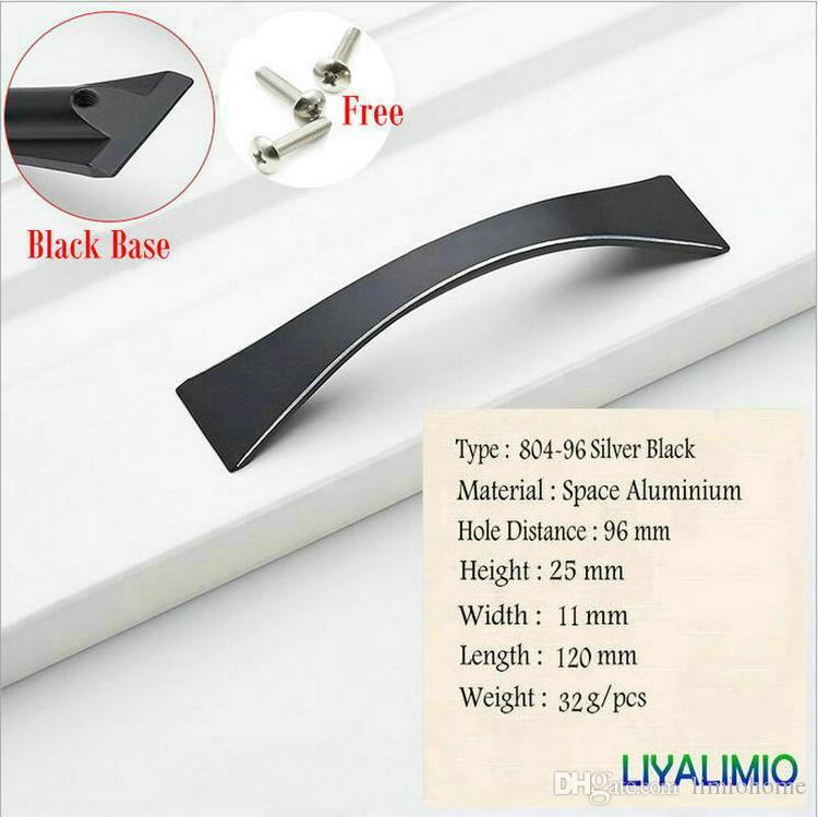 804-96 plata simple Estilo Negro manija de la puerta del gabinete perillas Dresser tiradores manijas de aluminio del espacio tirones