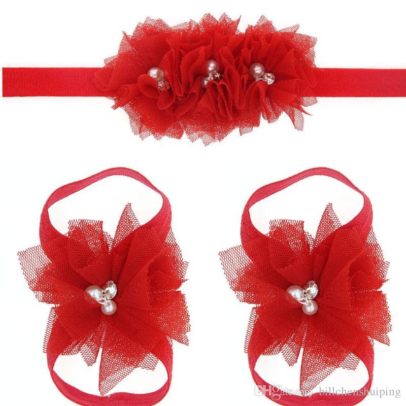 3pccs / set Pizzo Bambino Fasce Piede Fiore Cinturino da polso Infantile Ornamenti per capelli da ragazza Fiori Accessori da bambino per bambine
