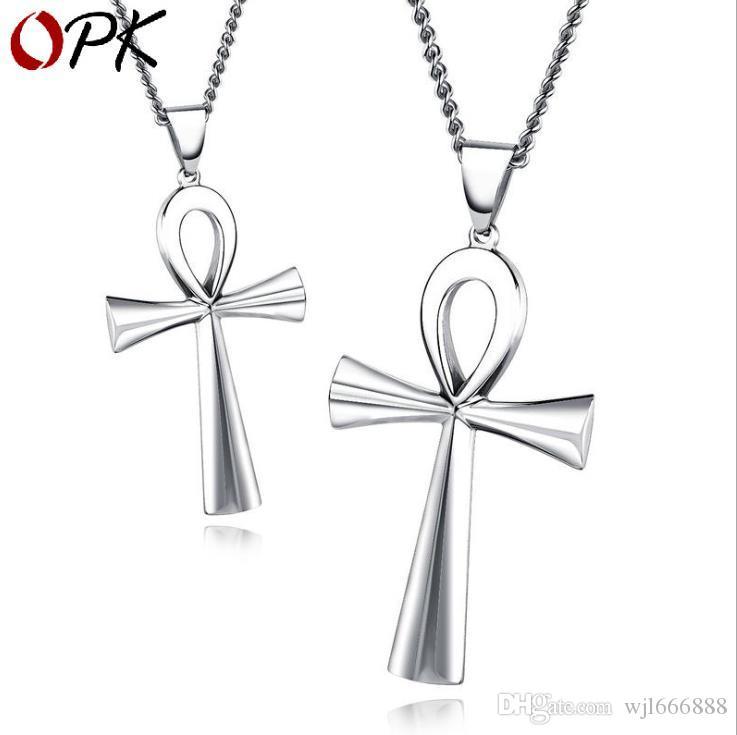 Europe and America Titanium Steel Ancient Egyptian Cross Men's Necklace Life's Fu Anka Pendant