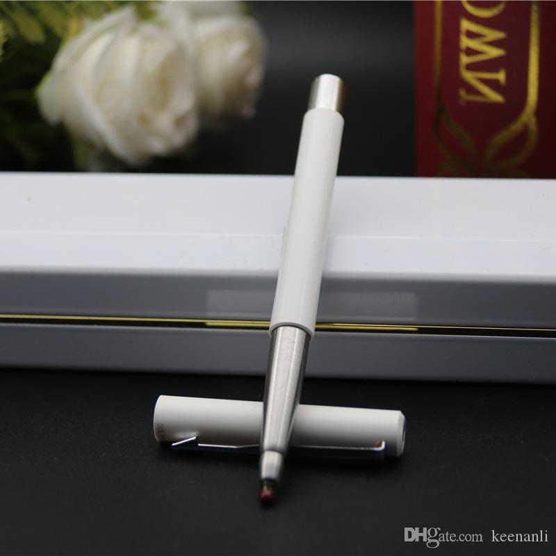 Livraison gratuite Blanc Roller Ball Pen Marque métal goodquality Papeterie Bureau Fournisseurs école Signature Novelty Stylo à bille