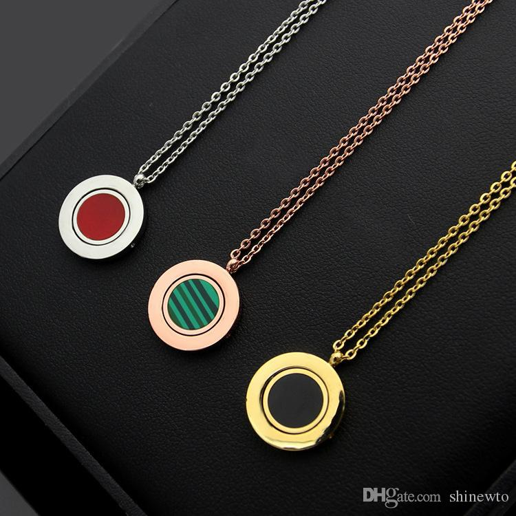 New Arrive Fashion Lady 316L Titanium steel Lettering 18K Plated Gold Necklaces With Rotating Malachite Carnelian Two-sided Pendant