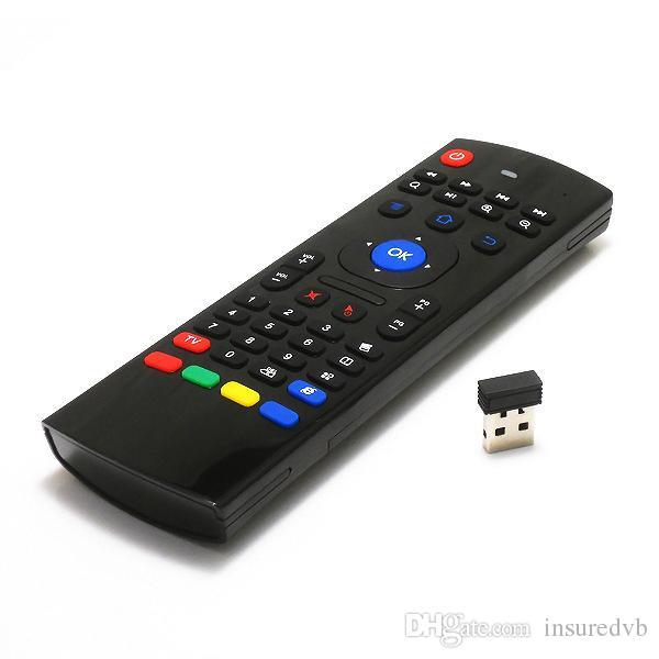 New MX3 Hot portátil 2.4G controle remoto sem fio do controlador do teclado Air Mouse para caixa de TV Smart TV Android mini-PC HTPC preto
