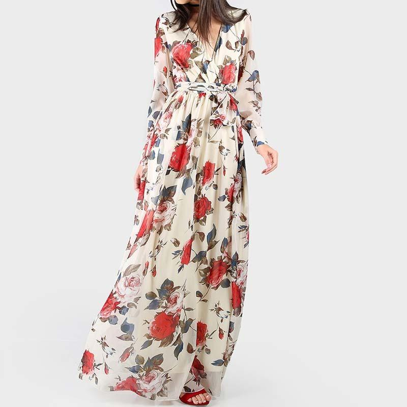 S.flavor Women Printing Long Dress Hot Sale Elegant V-neck Chiffon Dress Long Sleeve Floor-length Long Vestidos Bohemian Dress Y19051001