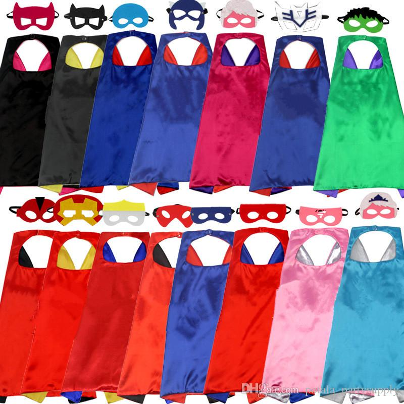 Superhero capes with mask cape mask sets Holloween costume Kids girls and boys cloak cosplay prop children birthday party favor dress supply