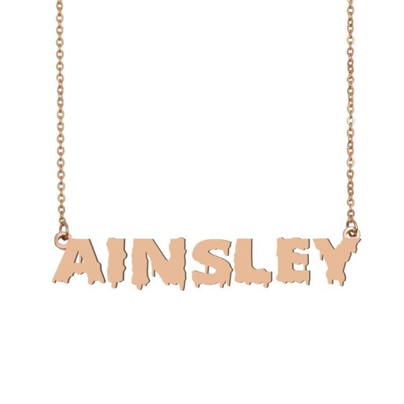 Эйнсли имя ожерелье, прохладный кровавый арт имя Ожерелье для Хэллоуина и День Санта-Клауса ювелирные изделия подарок для детей мальчиков девочек