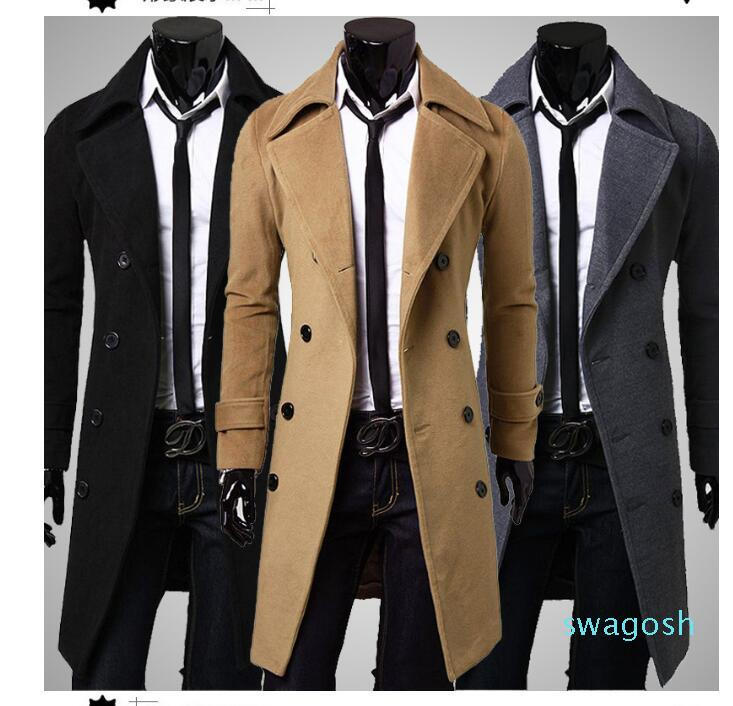 Slim Double Breasted Trench Coat Solid Color Lapel Collar Long Sleeve European Style 3 Colors Men's Leisure Trench Coats JH04