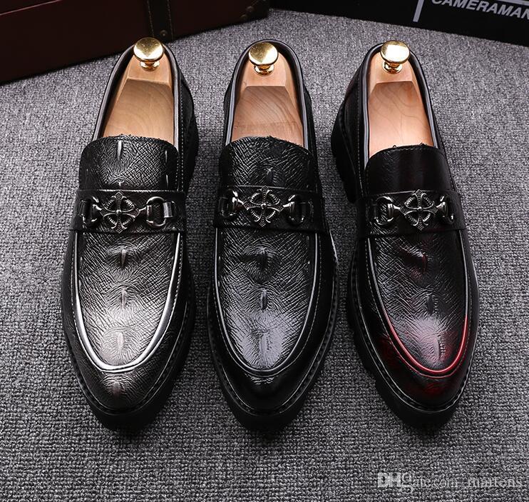 Crocodile skin men designer dress shoes slip on loafers Men's Formal Leather shoes slip on Men's Men's Business leather shoes N92