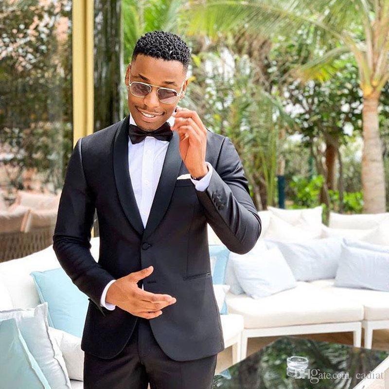Siyah Erkekler Düğün Man Kıyafet Damat Smokin Saten Şal Yaka Slim Fit Kostüm Homme 2piece (Pantolon Coat) Classic Terno masculino Takımları