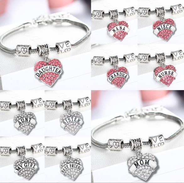 Mother Day Best Gift Mom Daughter Sister Grandma Nana Aunt Family Pandora Bracelet Crystal Heart Pendant Rhinestone Diamond Women Jewelry