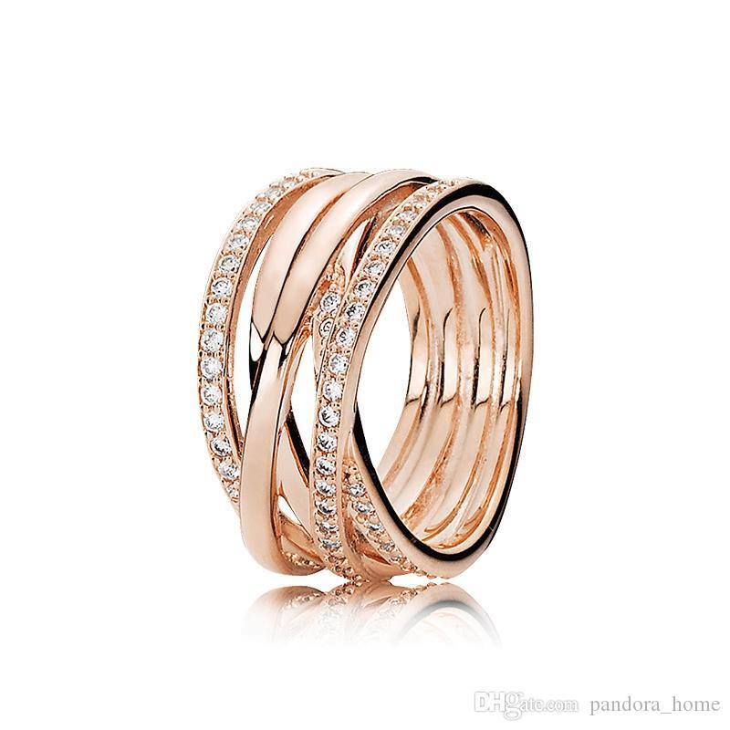 جديد الساحرة المشركة حلقة فاخر مصمم 925 فضي وردة الذهب CZ الماس الأصل مجموعة صندوق لخواتم الزفاف باندورا المرأة