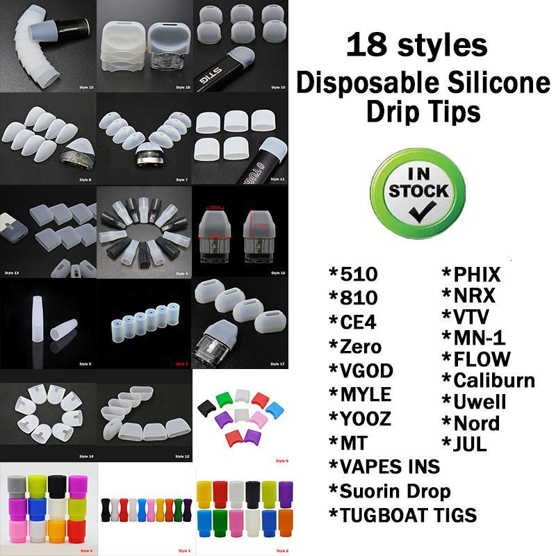 18 스타일 일회용 실리카 젤 드립 팁 실리콘 510 마우스 피스 와이드 보어 전자 담배 적합 포드 RDA 분무기 고품질 DHL