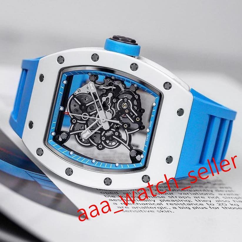 17 Стили Роскошные Мужские Часы RM055 Bubba Watson Outdoorworked Череп Tourbillon Ceramictitanium WatchCase Механическая автоматическая наручные часы
