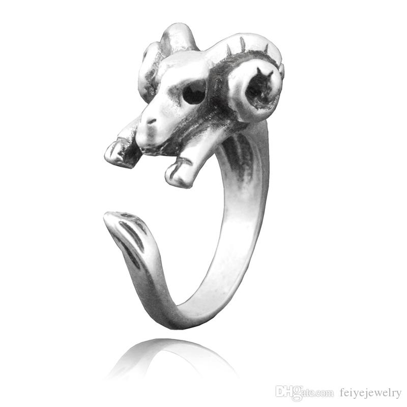 Boho Chic Black Crystel Eye Sheep & Ram Metal Wrap Ring For Women Anel Animal Goat Finger Unique Biker Punk Animal Jewelry